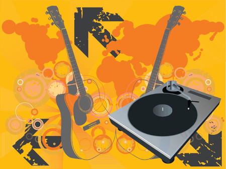 Retro vector with a dj mix turntable and a grunge starburst background with guitar and a world map. Concept: Party and entertainment, world music. Vector