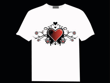 Valentines day vector image with ink splats and vines on a T-shirt. Funky and retro image.
