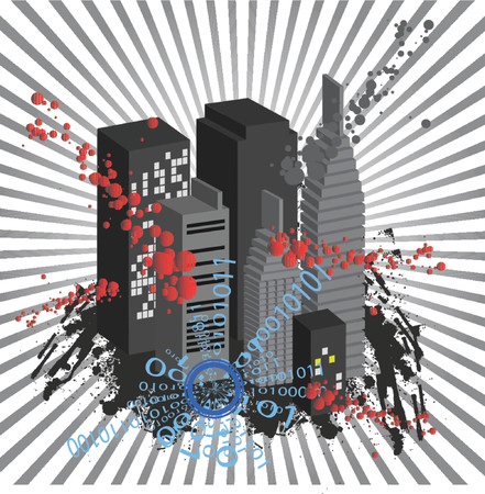 Vector - Cityscape in 3D with ink blots grunge. Stock Vector - 951610