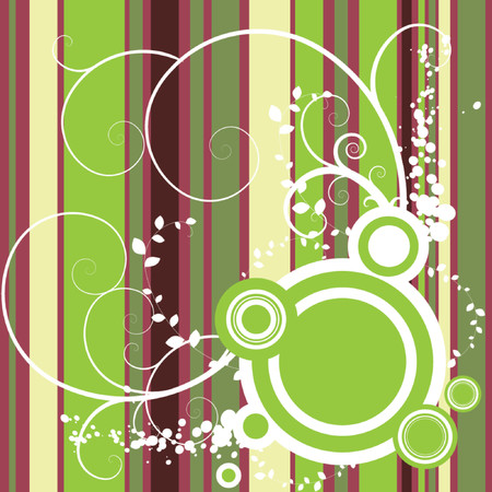 Vector - Bright and colorful stripes with floral grunge and retro circles. Vector