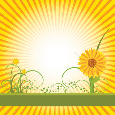 Vector- Floral grunge with sunflower, vines and grass. Copy space for text. Vector