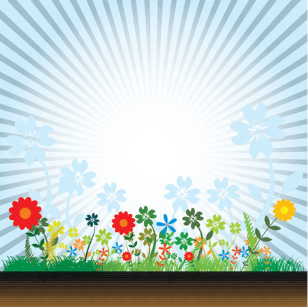 Vector- Floral grunge with sunflower, vines and grass. Copy space for text. Stock Vector - 979435