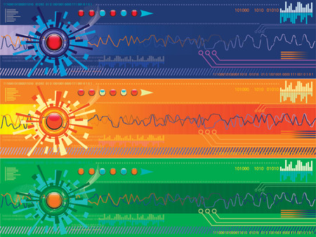 Vector - Colorful high tech banners, digital technology concept. Stock Vector - 979317