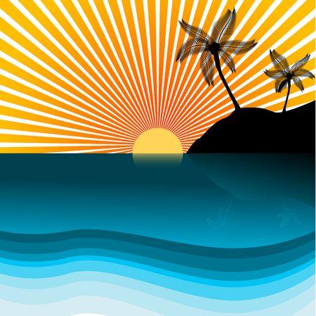 Vettoriale - Paradise isola silhouette con palme, copiare spazio per inserire il testo.  Vettoriali