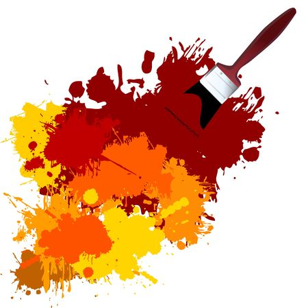 pigment: Vector - Colorful paint on a white canvas with a paintbrush. Illustration