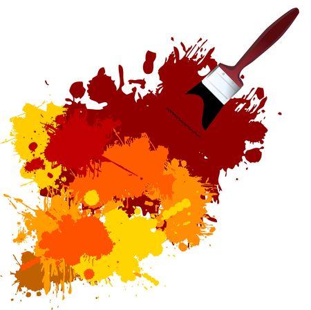 Vector - Kleurrijke verf op een wit doek met een penseel.