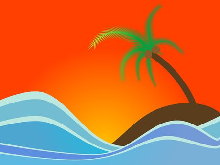 Vector - Colorful island with a coconut tree in an ocean. Vector