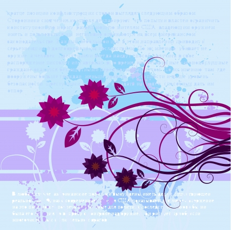 Vector- Floral with vines and flowers, contains ink splats grungy effect. Vector