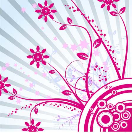 Vector- Floral grunge with vines and grass. Copy space for text. Vector