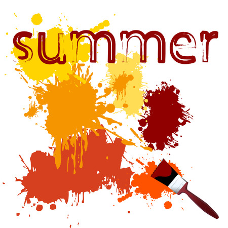 Vector - Colorful paint on a white canvas with a paintbrush. Concept: Summer Stock Vector - 1390871