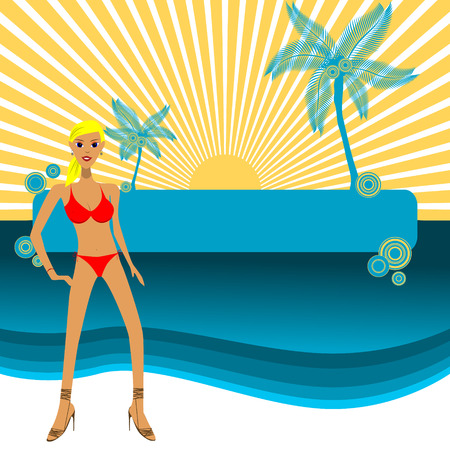 Vector - Girl in bikini posing in front of a paradise island, copy space to insert your text. Vector