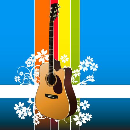 guitarra clásica: Vector - Realista guitarra cl�sica sobre un fondo floral. No gradiente de malla utilizado.