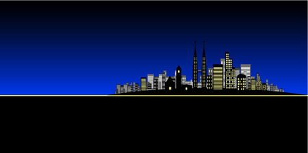 Vector - Brightly lit modern city in night time / dusk. Stock Vector - 1480871