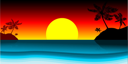 Vector - Paradise island silhouette with palm trees, copy space to insert your text. Stock Vector - 1480899