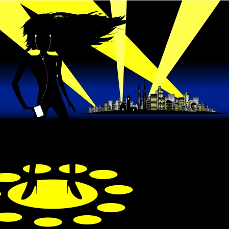 Vector - Woman dancing on spotlights with a city in the background. Concept: Woman partying. Vector