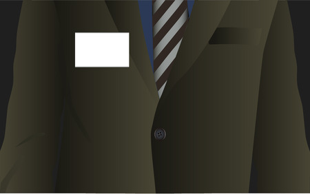 Vector - Business man dressed in formal attire with a name tag. Insert text in name tag. Vector