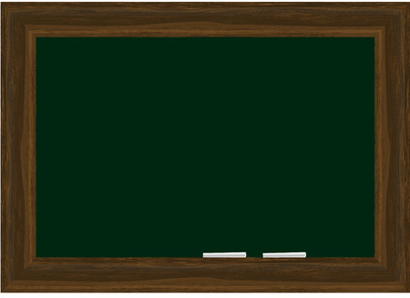 Vector - Black board in a wooden frame with two pieces of chalk. Copy space. Vector