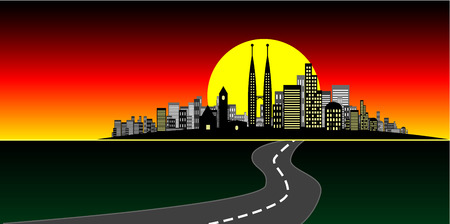 brightly lit: Vector - Brightly lit modern city at sunset. Illustration
