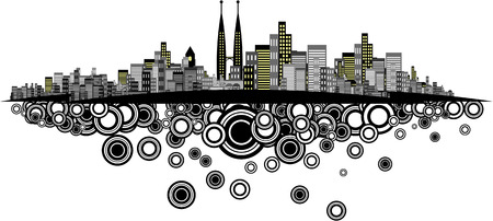 brightly lit: Vector - Brightly lit modern city with retro rings.