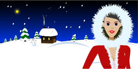 Vector - Beautiful woman in a fur coat standing in front of a cabin covered in snow. Christmas concept. Stock Vector - 1537831