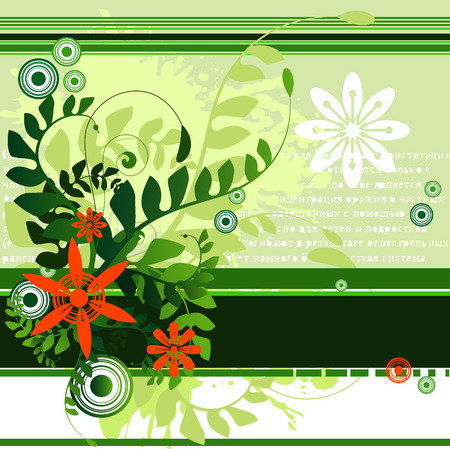 dense: Vector - Floral illustration with vines and ferns. Blank space for your text.