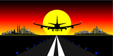 Vector - Brightly lit modern city with plane landing on a runway at sunset.