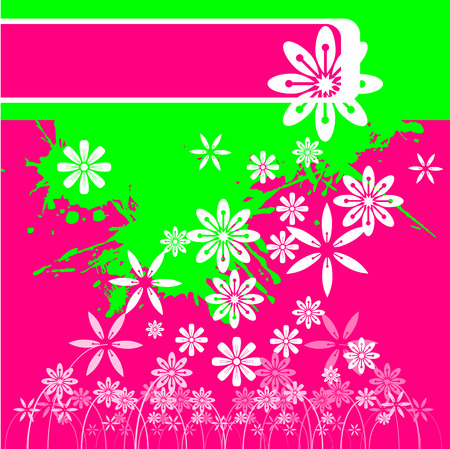 gaudy: Vector - Bright and colorful paint splashes and floral background.