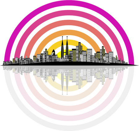 Vector - Brightly lit modern city with reflections. Stock Vector - 1666156