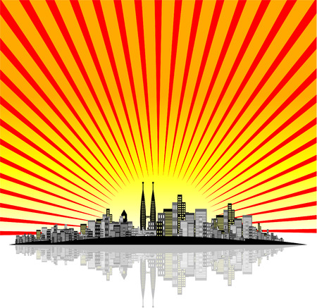 Vector - Brightly lit modern city with reflections and starburst effect. Stock Vector - 1674119