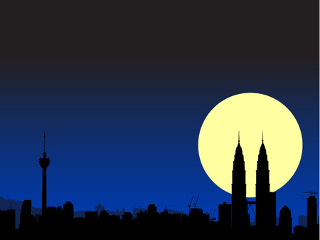 brightly lit: Vector - Brightly lit modern city with the moon in the background.