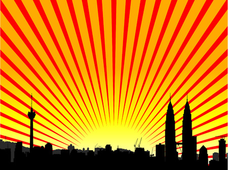 Vector - Brightly lit modern city with reflections and starburst effect. Vector