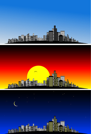Vector - Brightly lit modern city at vaus times of the day. Stock Vector - 1787682