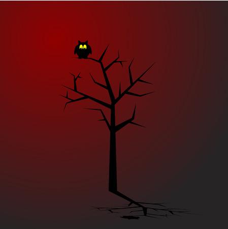 przerażający: Sowa siedzi na drzewie w upiorny okolicy. Concept: Halloween.