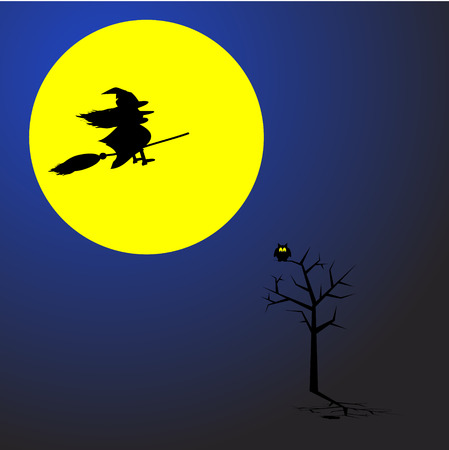 hag: Witch flying on a broom stick across a full moon. Concept: Halloween. Illustration