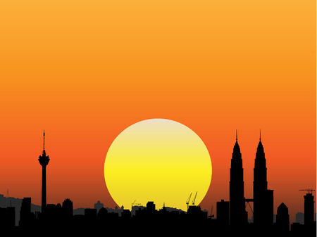 Vector - Brightly lit modern city with the sun in the background. Stock Vector - 1787679
