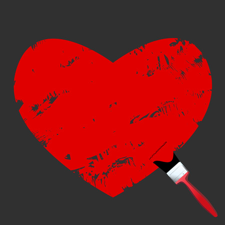 Vector - Heart shaped symbol formed by a paint with a paint brush in red. Concept: Stock Vector - 1832861