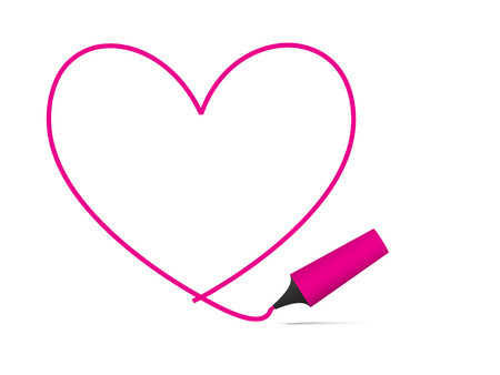 Vector - Heart shaped symbol formed by a highlighter pen in bright pink. Concept: Romance Vector