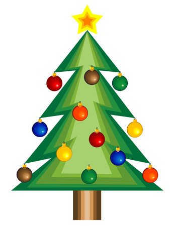 Vector Christmas background with tree and star. Vector