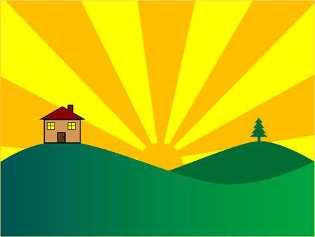 setting sun: Vector illustration of a home against a rising or setting sun.