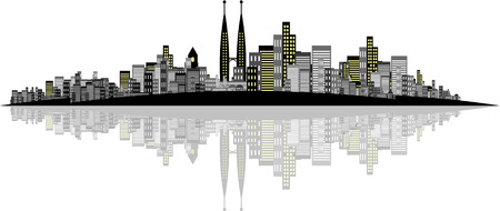 brightly lit: Vector - Brightly lit modern city with reflections.