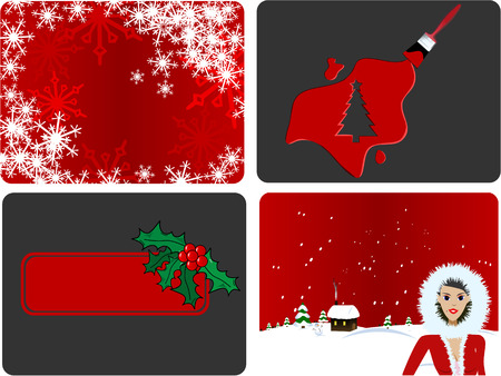 sexy santa: Vector - 4 different Christmas designs - Snowflakes, Christmas Tree, Holly Berry and Sexy Santa against a winter background.