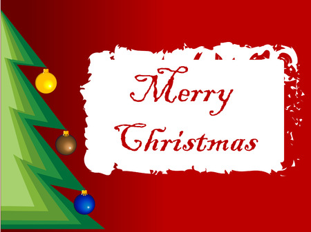 Christmas tree with message and decorations. Vector