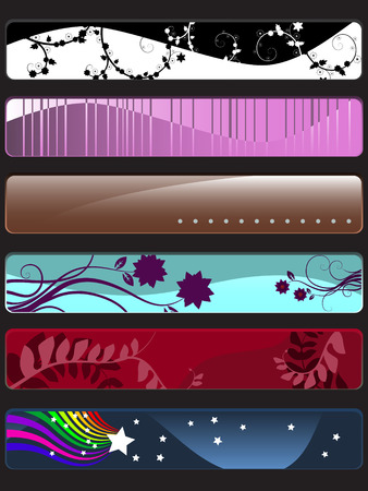 Vector - Many colorful banners with nature theme (floral, vines and retro). Vector