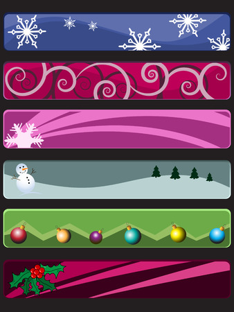 Vector - 3D web banners with christmas theme (snow flakes, snow man, christmas ornaments balls and holly berry). Vector