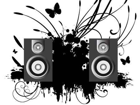 Vector - 3D music speakers against a grunge ink splat background with vines and florals. Vector