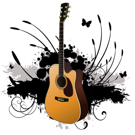 Vector - 3D music guitar against a grunge ink splat background with vines and florals. Illustration