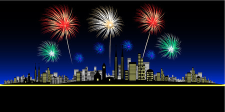 Vector - Fireworks over a big and bright city. Concept: Celebration or new year. Vector