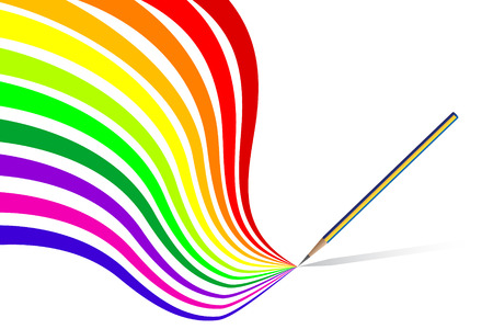 layer style: Vector - Colorful wavy  curvy abstract rainbows on a white background.