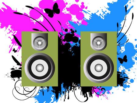 ink splat: Vector - 3D m�sica oradores en contra de un grunge de tinta s�mbolo de antecedentes con la vid y florales.
