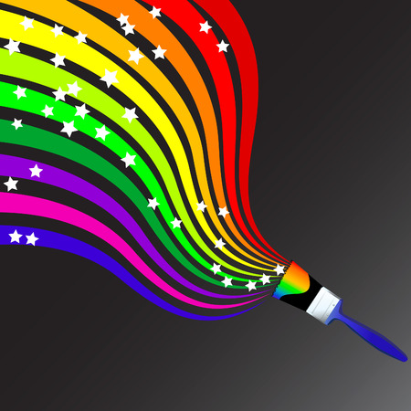 Vector - Colorful wavy / curvy abstract rainbows on a black background. Stock Vector - 2197679